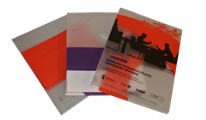 Semi-transparent plastic promotional binders with overprint of your choosing